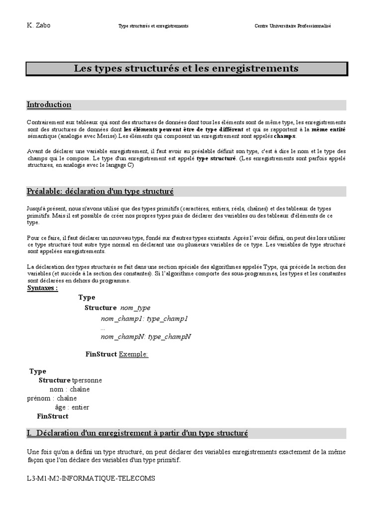 Chapitre 6 Structures Tableau Structure De Donnees Variable Informatique