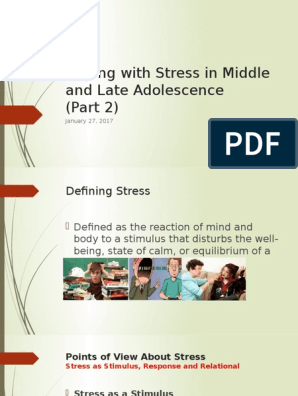 Coping with Stress in Middle and Late Adolescence(2) pptx | Stimulus