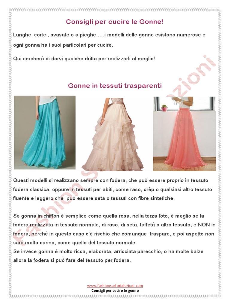 best website d6f27 90c2f Gonna Segreti e Trucchi Per Cucire