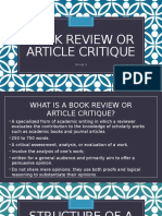 Book Review or Article Critique