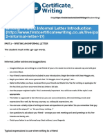 Writing - Part 2 Informal Letter Introduction - First Certificate Writing