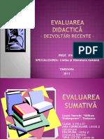 Evaluarea Didactica Dezvoltari Recente