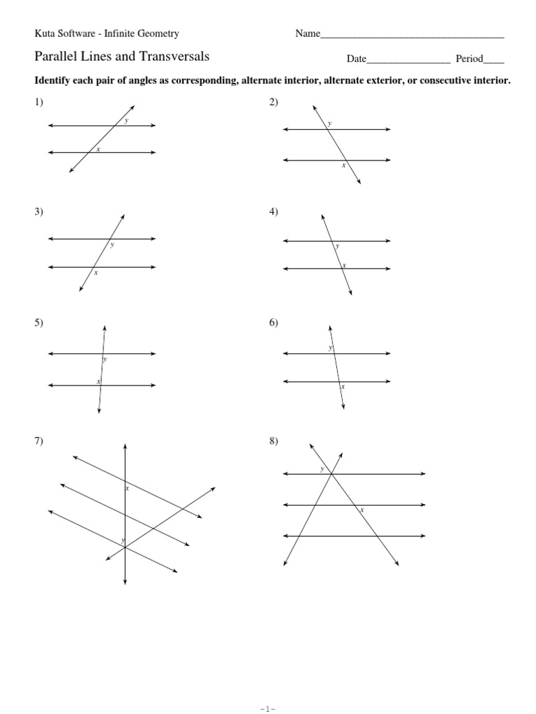 worksheet Angles And Parallel Lines Worksheet 3 parallel lines and transversals pdf elementary geometry geometry