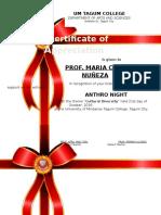 Certificate of Participation NUNEZA