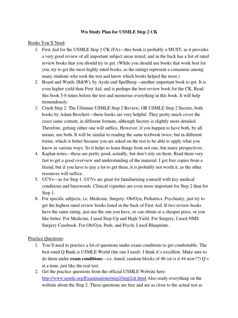 Wu Step 2 CK Study Plan (1) doc | United States Medical Licensing