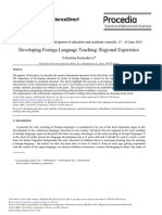 Developing Foreign Language Teaching- Regional Experience
