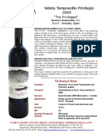 veleta tempranillo privilegio 2009 sell sheet