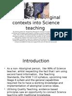 Introducing Aboriginal Contexts Into Science Teaching