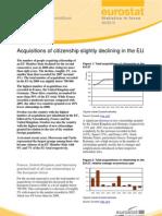 Acquisition nationalité en baisse en UE - Eurostat focus july 2010 juillet 2010