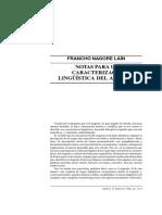 Caracterización Lingüistica Del Aragonés Francho Nagore