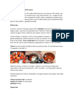 Ingredientes Salsa de Tomate