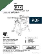 Craftsman 10'' table saw 137-21807 users manual.pdf