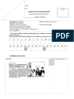 Evaluación diagnóstica 4° básico Lenguaje