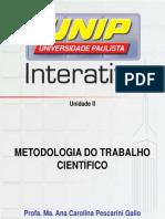 Metodologia Trabalho Cientifico Unid II. Slides