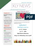 weekly newsletter- feb 20- feb  24