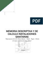 Memoria Descriptiva y de Calculo INSTALACIONES SANITARIAS