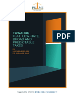 Towards Flat Low Rate Broad and Predictable Taxes