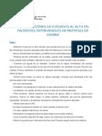 Recomendaciones de Enfermería en PRÓTESIS DE CADERA HSJDA.