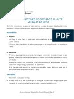 RECOMENDACIONES DE CUIDADOS AL ALTA VENDAJE DE YESO