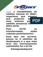 Com a Instabilidade Do Satélite Intelsat 21 58Wº