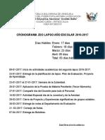 Cronograma de Actividades 2016-2017 Segundo Lapso.