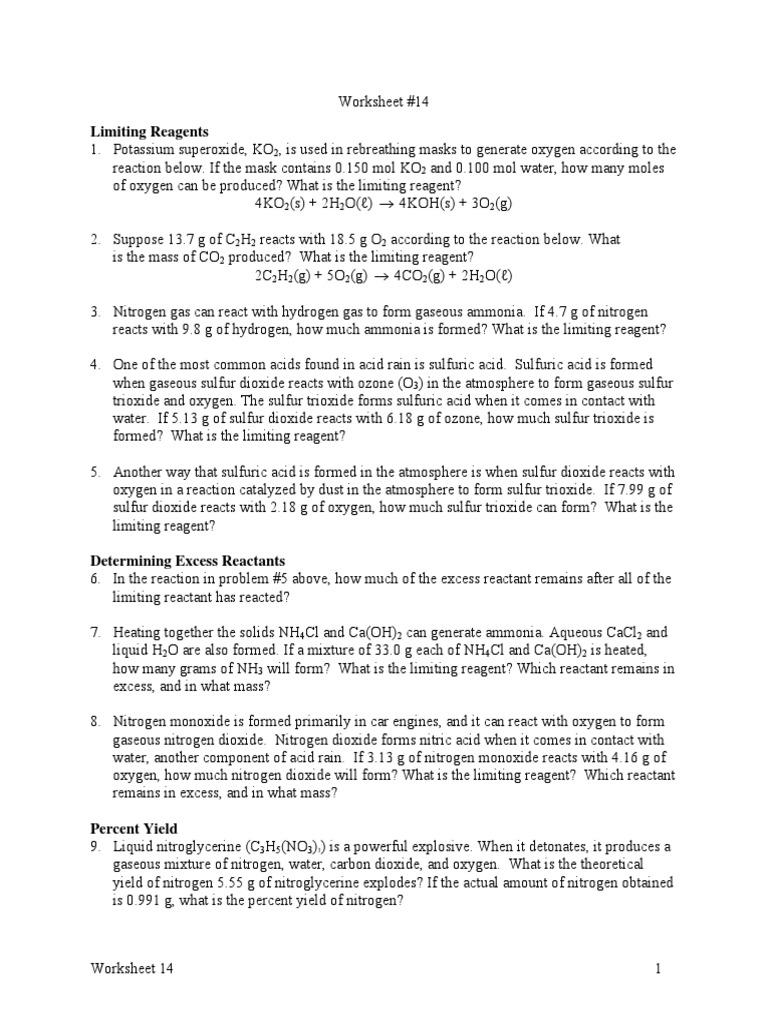 Limiting Reagents Percent Yield Worksheet Stoichiometry Nitrogen
