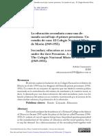 La Educación Secundaria Como Una Demanda Social Bajo El Primer Peronismo.