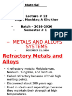 LECTURE # 12, Refractory Metals and Alloys