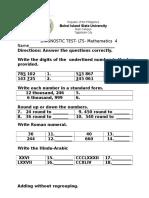 Grade 4 Math test