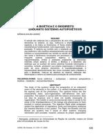 Artigo - A Bioética e o Biodireito Enquanto Sistemas Autopoiéticos