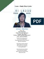 Ari Lasso – Dunia Maya Lyrics