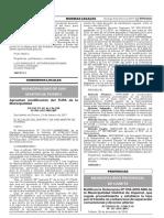 Ratifican la Ordenanza Nº 016-2015-MDI de la Municipalidad Distrital de Imperial que regula procedimiento y establece la tasa por el trámite no contencioso de separación convencional y divorcio ulterior
