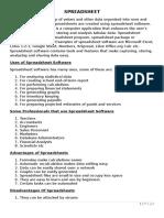 Spreadsheet Notes for SHS