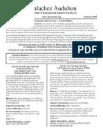 Oct 2007 Apalachee Audubon Society Newsletter
