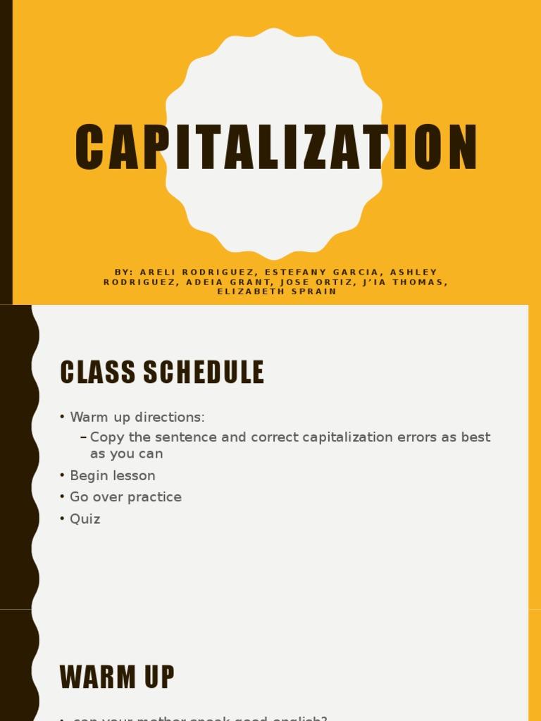 capitalization | Syntactic Relationships | Onomastics