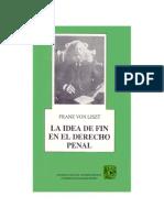 La Idea Del Fin Deld Erecho Penal - Programa de Marburgo - Franz Von Liszt