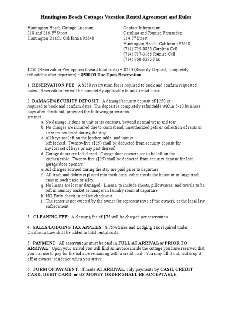 Huntington Beach Cottages Vacation Rental Agreement And