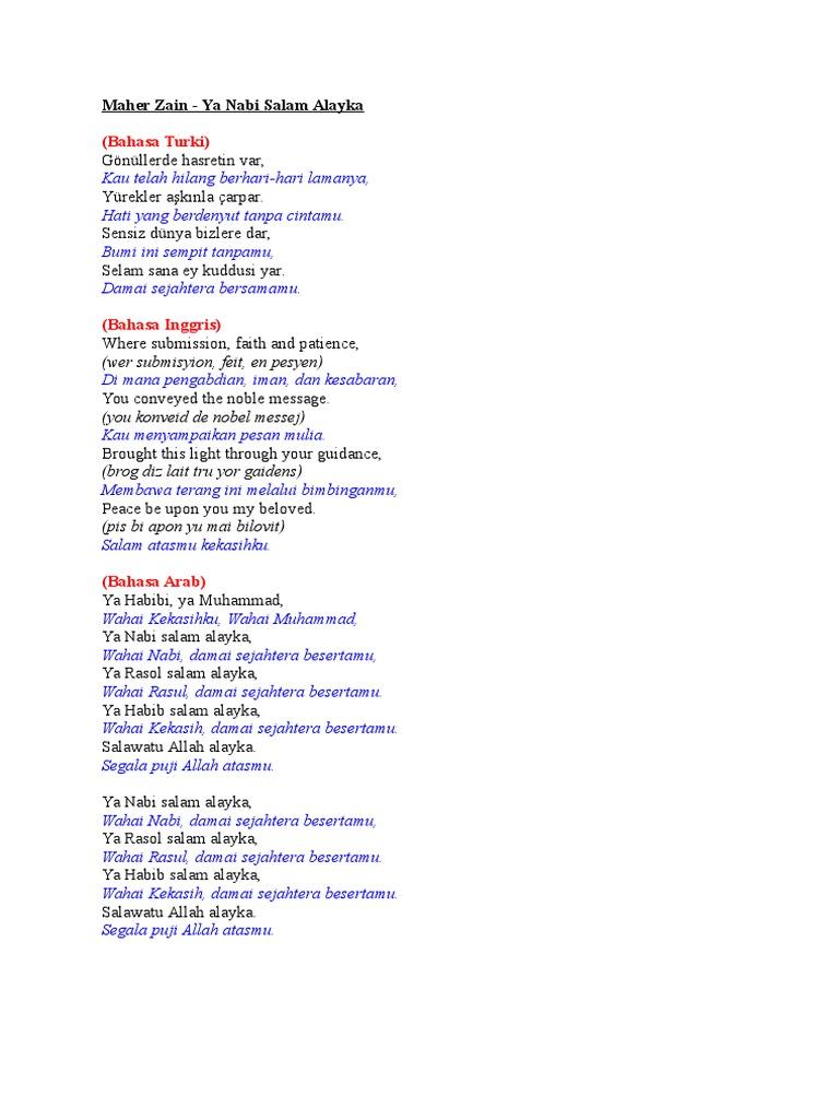 Arti Lirik Lagu Ya Nabi Salam Alaika Maher Zain