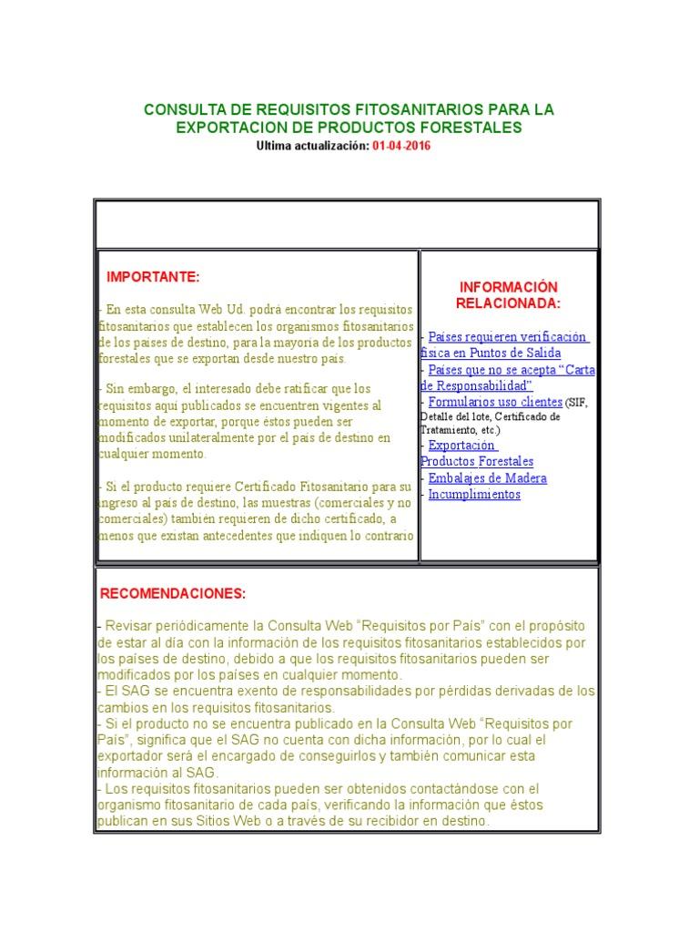 Consulta De Requisitos Fitosanitarios Para La Exportacion De  # Certificado Fitosanitario Muebles