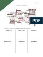 Descriptive Words Worksheet 3 Col