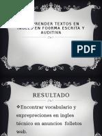 Comprender Textos en Ingles en Fo0rma Escrita y Alex