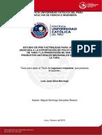 Silva Luis Prefactibilidad Empresa Exportacion Tara