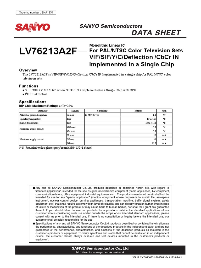 Lv76213a2f Frequency Modulation Amplitude The Circuit Is Based Around Monolithic Linear Sanyo Integrated