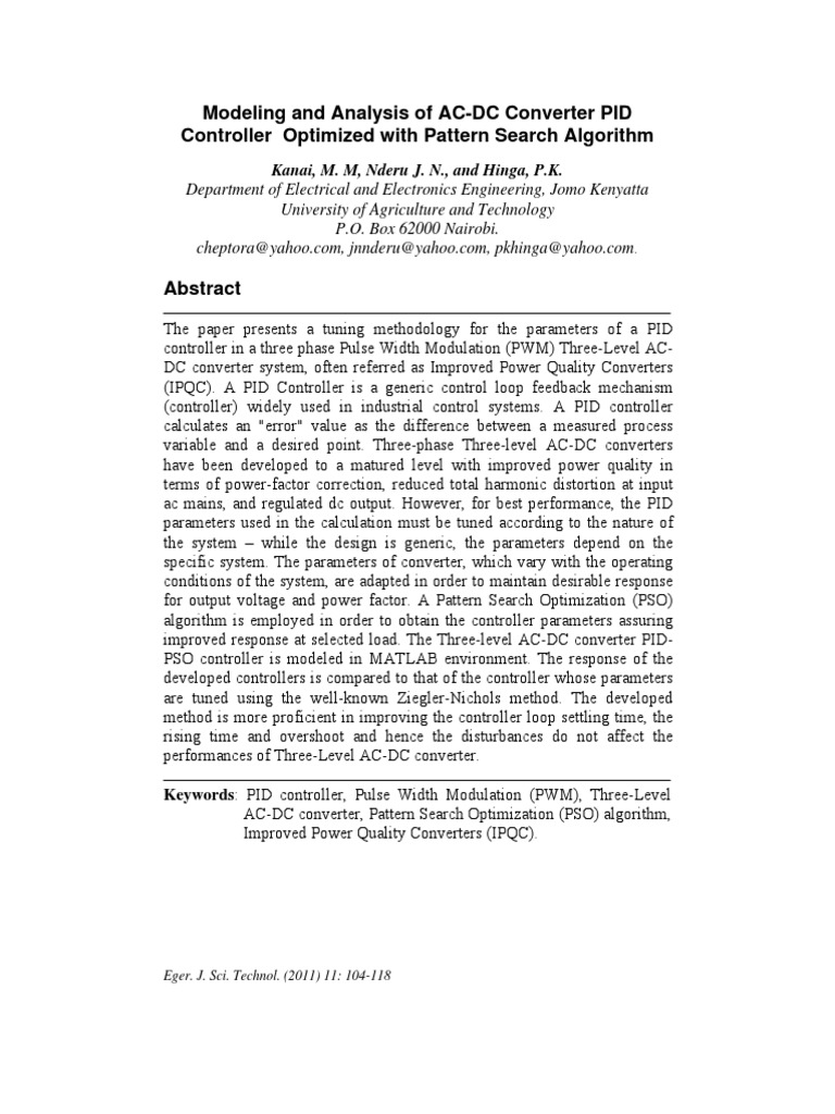 Articulo Modeling And Analysis Of Ac Dc Converter Pid Controller Converters For Electric Vehicles Intechopen Optimized With Pettern Search Algorithm Rectifier Direct Current