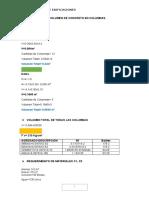 Calculo de Volumen de Concreto en Columnas