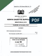 The Community Land Bill - 2013