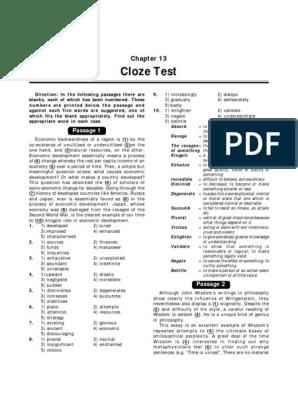 CLOZE TEST FOR POST by kundan  pdf | Wisdom | Renewable Energy