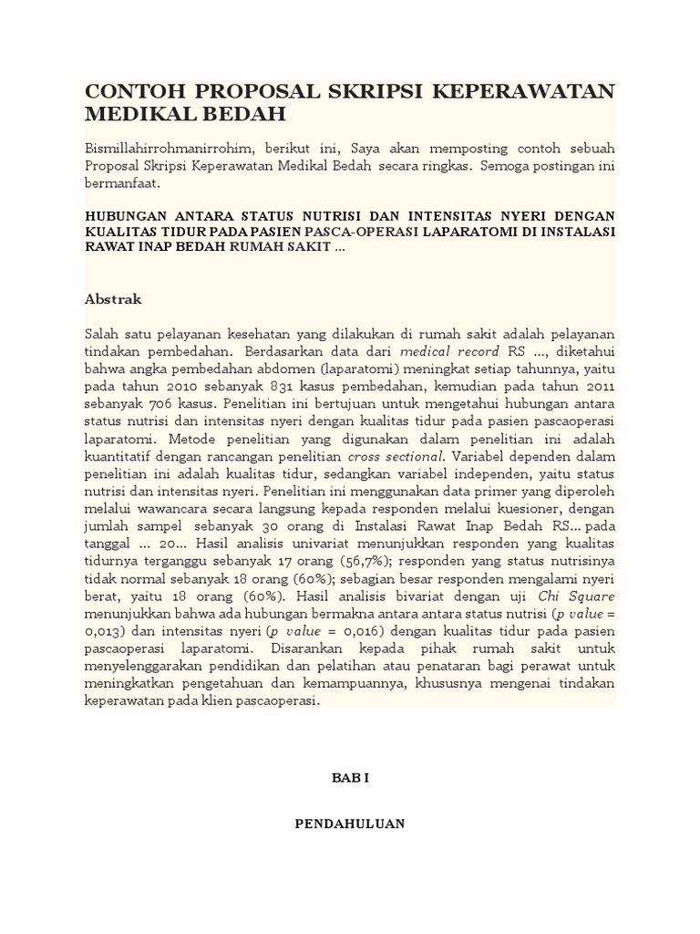 Contoh Proposal Penelitian Keperawatan Medikal Bedah Pdf Berbagi Contoh Proposal