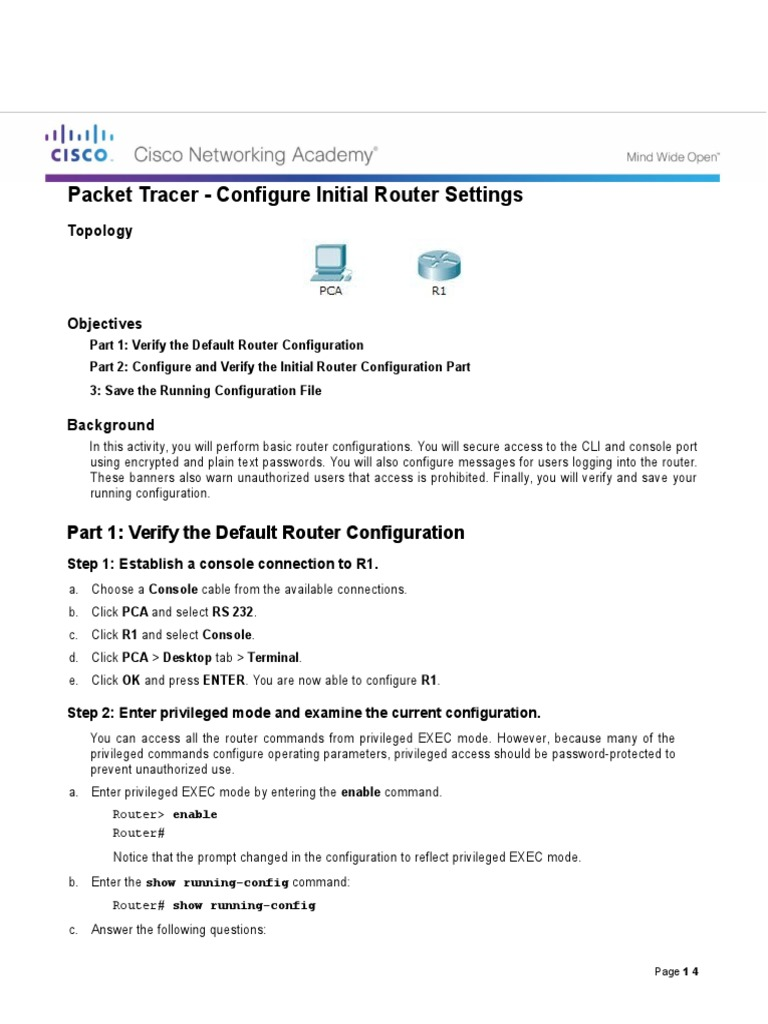 6 4 1 3 Packet Tracer - Configure Initial Router Settings