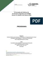 Programa VII Jornadas de Poéticas de La Literatura Argentina Para Niñ@s